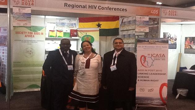 From Left: Mr. Luc Bodea (SAA Coordinator), Dr. Khadija (from Tunisia), Dr. Ihab Abdelrhaman (SAA President & ICASA2015 President)