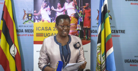 Hon. Esther Mbayo Mbulakubuza (Minister for the Presidency), launching ICASA 2021 Call for Logo and Theme.
