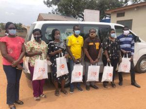 The staff of SAA Permanent Secretariat presenting the Dignity Kits at Ashiaman Polyclinic, Accra