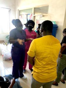 The Staff of SAA permanent secretariat presenting the Dignity Kits at Lekkma Hospital, Accra