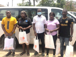 The Staff of SAA permanent secretariat presenting the Dignity Kits at Ghana NAP+, Accra
